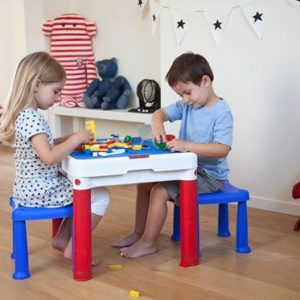 Детский набор Keter ConstrucTable + 2 Stools